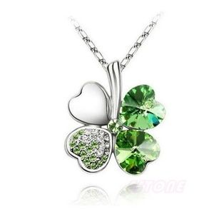 Austrian Crystal Clover four Leaf Necklace